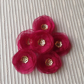 MAROON RED fabric flowers, weddings decoration, parties decorations