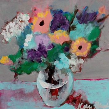 "Small Acrylic Painting, Abstract Flowers in Vase, Loose Brushwork, Summer, Spring, ""Modern Floral Still Life"""