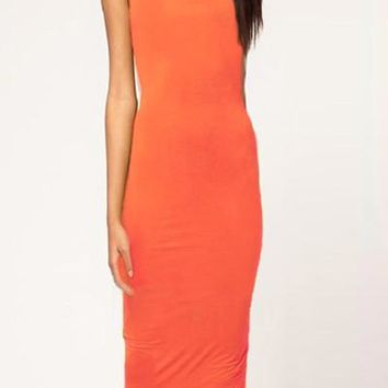 Orange Cut out Backless O Neck Bodycon Midi Dress