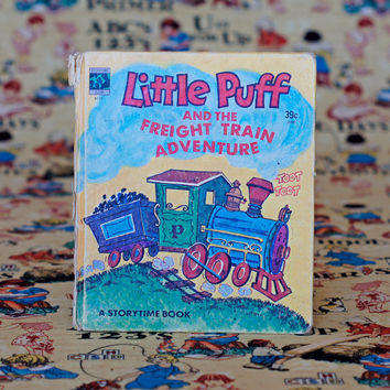 LITTLE PUFF and the Freight Train Adventure Storytime Book Vintage Picture Book Story Children's Book Illustration Nursery Decor Mustard
