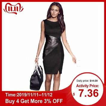 2019 Women Summered Dress Elegant Ladies Business Dress for Women Office PU Leather Splice Evening Party Dresses Large Size 5XL