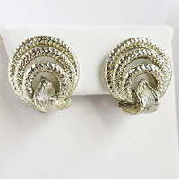 Lisner Silver Tone Hoops Earrings, Vintage Clip-ons