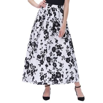 Belle Poque Women Summer Vibrant Pattern Retro Swing Skirts 50s 60s Style Vintage Print Cotton Elastic Waist A-Line Long Skirt