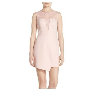 BCBG MAX AZRIA 'Kinsley' Embroidered Wisper Pink Mesh & Satin A-Line Dress