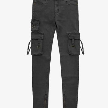 D-Ring Cargo Jeans in Washed Black