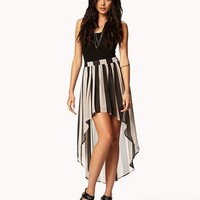 Vertical Striped High-Low Skirt