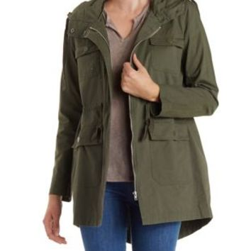 Olive Longline Hooded Anorak Jacket by Charlotte Russe