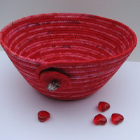 Handmade Coiled Fabric Basket/Bowl, red/pink, Valentine decor