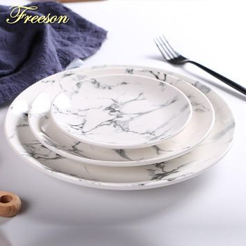 Marbling Porcelain Plate Dessert Dish Cake Dishes Sushi Dish Noodle Plates Fruit Tray Steak Plate Dinner Ceramic Tableware