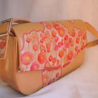Pink floral handbag, beige purse, vegan bag, upcycled bag embellished with decoupage pink dahlia flowers. Summer handbag.