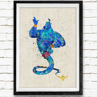 Aladdin Disney Fairy Genie Watercolor Print, Peter Pan, Baby Girl Nursery Room Art Minimalist Home Decor Not Framed, Buy 2 Get 1 Free