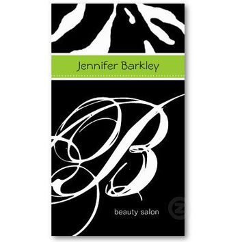 Animal Business Card Zebra Beauty Salon Lime Green from Zazzle.com