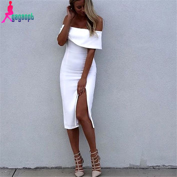 Gagaopt 2016 Summer Dresses Solid Off the Shoulder Dress White/Rose Red Ruffles Sexy Party Dresses