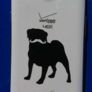 Pug With A Stache Phone decal