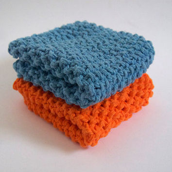 hand knit plushy cotton washcloth set in bright neon orange and light baby blue
