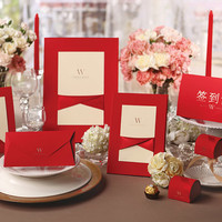 Red Wedding Guest Book Design With Red Ribbon