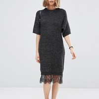 ASOS Sweater Dress with Lace Hem Detail
