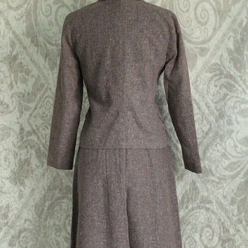 Vintage 1970s Dress Suit 1940s Style Suit 70s Skirt and Jacket Tweed Suit Vintage 2 Piece Mauve Outfit Womens Extra Small