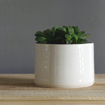 porcelain planter white modern pottery. small size. vitrifiedstudio pottery ceramics