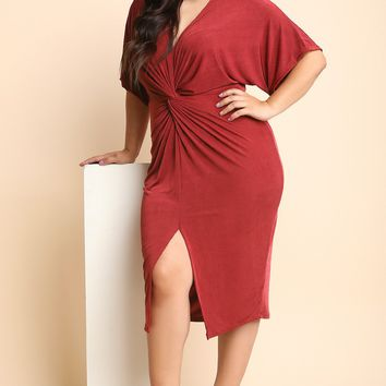 Knotted Ruched Center Kimono Sleeve Midi Dress