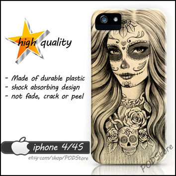 Death Women Skull iphone 4 case Day Of The Dead Anchor Death Skull iphone4 casing
