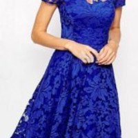 Blue Short Sleeve Lace  Mini Dress