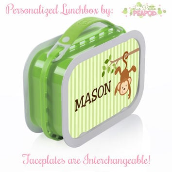 Monkey Lunchbox - Personalized Lunchbox with Interchangeable Faceplates - Double-Sided Green Monkeys Lunchbox