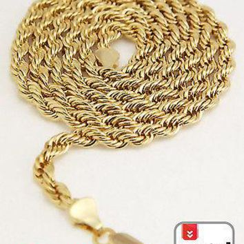 "Jewelry Kay style Men's 14K Yellow Gold Plated 5 mm Rope Chain Necklace 30"" for Micro Mini Pendant"