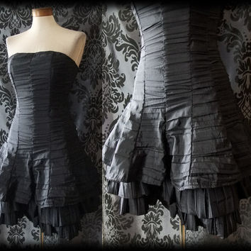 Gothic Black Fitted SCANDALOUS Boned Corset Panel Dress 8 10 Victorian Pin Up