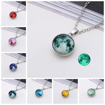 Hot New Arrival Glowing Jewelry Full Moon Necklace Handmade Glass Dome Lunar Eclipse Necklace Glow In The Dark Pendant Jewelry