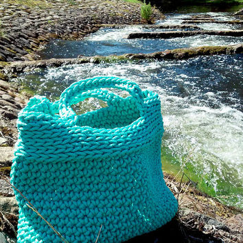 Knitted Bag/ Rope Bag/ Handmade Bag/ Chrochet Bag/ Bolso/ Beach Bags/ Market Bags/ Mint Bag/ Summer Handbag/Bags ,,Elegant,,