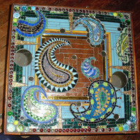 Shades of Blue Paisley Mosaic Upcycled EndTable Coffee Table #dailyetsysales