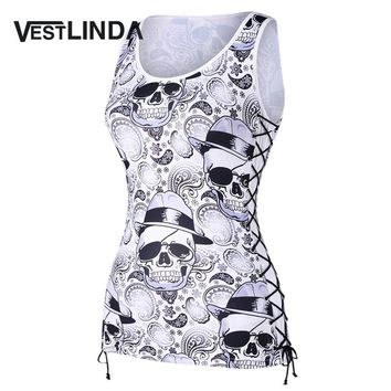 VESTLINDA Skulls Paisley Lace Up Tank Top Women 2018 New Fashion Casual Sleeveless Streetwear Tanks Womens Tops Tees T-Shirts