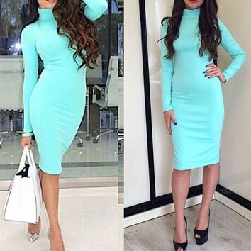 Solid color pencil dress high-necked dress