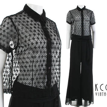 """Sheer Mesh Top Black Lace Shirt 90s Sheer Shirt Collared Crop Top 90s Grunge Goth 90s Clothing Vintage Clothing Women's Size M/L 44"""" Bust"""