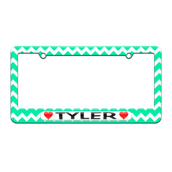Tyler Love with Hearts - License Plate Tag Frame - Teal Chevrons Design