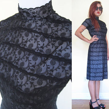 Vintage 50's 60's black lace chinese collar wiggle dress mad men secretary pin up party cocktail wedding