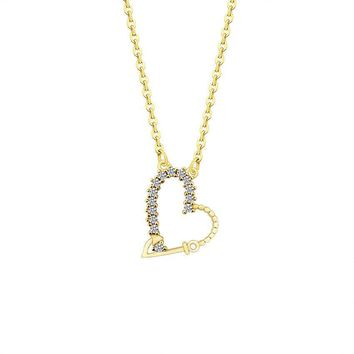 Gold Color Crystals Heart Statement Necklace Women Friendship Jewelry Stainless Steel Chain CZ Forever Love Collier Femme Bijoux