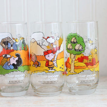 Vintage Camp Snoopy McDonads Drinking Glasses, Snoopy Glasses, 1980s, Charlie Brown, Peanut Gang, Lucy, Linus, Novelty Glasses, 1983,