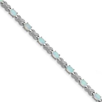 Sterling Silver 7inch Created Opal & Illusion Infinity Bracelet