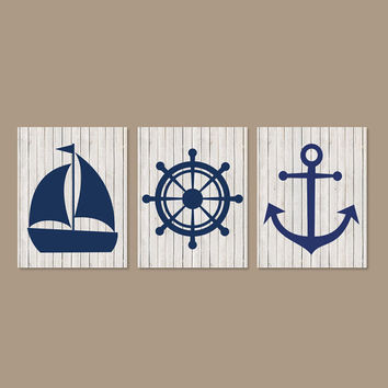Nautical Wall Decor Nautical Nursery Beach Bathroom Coastal Wall Art Beach House Art Anchor Boy Nursery Prints Art Set of 3 Prints Or Canvas