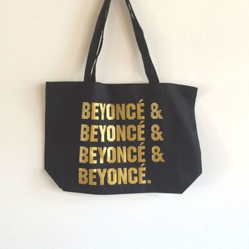 Screen Printed Organic Cotton Beyonce Tote Bag in Larger Size