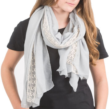"""Gray - 70"""" x 30"""" Lace Accent Scarf"""