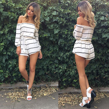 White Striped Off Shoulder Drawstring Romper