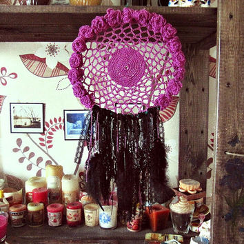 Bohemian Dreamcatcher - Garden in the Dark -  Boho Chic Dreamcatcher - Wall Hanging Dreamcatcher - Hippie Bedroom Decor