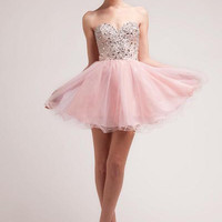 PRIMA C1401 Blush Homecoming Dress with Sparkle Tulle