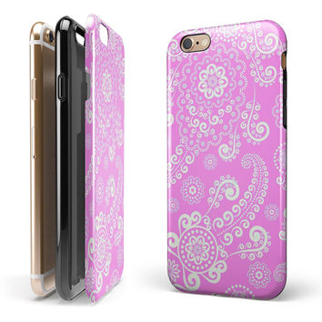 Pink & White Lace Pattern 2-Piece Hybrid INK-Fuzed Case for the iPhone 6/6s or 6/6s Plus