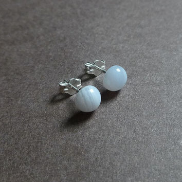 petite blue lace agate gemstone stud earrings