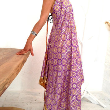 dress by pure india silk,  purple and yellow color dress, one of the kind