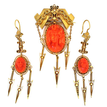 Antique Etruscan Victorian Solid 14k Gold Red Coral Cameo Earrings & Brooch Set